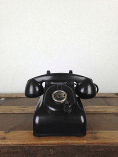 Vintage 1940s Telephone Bakelite Black Telephone Crank Style Antique Phone