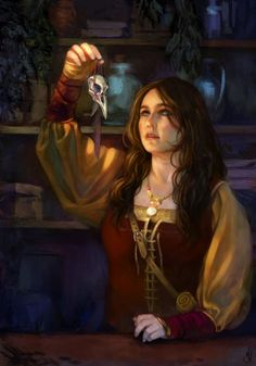 Tomira the herbalist by Francesca Resta. A fanart of The Witcher character, GWEN. Tomira the herba High Fantasy, Fantasy Women, Medieval Fantasy, Fantasy Art, Dnd Characters, Fantasy Characters, Female Characters, The Witcher Books, The Witcher 3