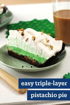 Easy Triple-Layer Pistachio Pie – How is it possible for a triple-layer pistachio pie recipe to be easy? By using a ready-made chocolate cookie crust, instant pudding and whipped topping.