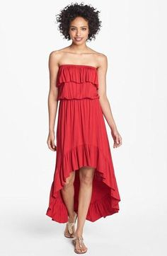 Ruffle High-Low Maxi Dress
