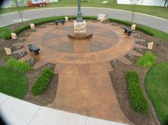 Beautiful example of stained concrete outdoors! This sitting area uses various bold brown stain colors. Acid Wash Concrete, Repair Cracked Concrete, Stained Concrete, Concrete Walkway, Concrete Floors, Sundial, Outdoor Living, Outdoor Decor, Stain Colors