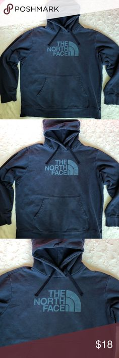 The North Face Men's Pullover Hoodie Size XLarge, Pullover Hoodie, Printed Blue logo on front, back is solid color, front pockets, no stains, no rips, no holes just normal color fade and pilling from wash and wear The North Face Shirts Sweatshirts & Hoodies