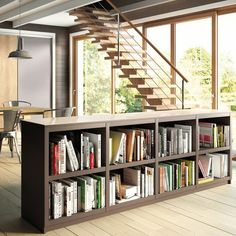 Furniture and decorating solutions to separate the space Source by achannam Library Shelves, Library Wall, Bookcase Shelves, Home Staging, Mezanine Floor, Bibliotheque Design, Interior Decorating, Interior Design, White Walls