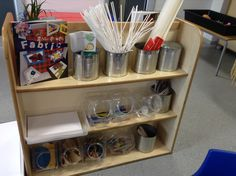 Creative shelf where children can choose their own items according to what they want to create. The other side of the shelf contains larger items for junk modelling. Classroom Layout, Classroom Organisation, Classroom Setting, Classroom Design, Preschool Classroom, Kindergarten, Creative Area, Creative Workshop, Junk Modelling