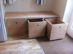 A custom made storage unit highlighting the uniquie pattern of the Plywoods end grain. 3 solid box style drawers on smooth operating ballbearing runners, allow for full extension and easy access. #toystorage A custom made storage unit highlighting the uniquie pattern of the Plywoods end grain. 3 solid box style drawers on smooth operating ballbearing runners, allow for full extension and easy access. Alcove Storage, Hallway Storage, Toy Storage, Bench Storage, Bedroom Storage, Storage Drawers, Kitchen Storage, Storage Ideas, Plywood Furniture