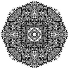 Круг кружева орнамент, круглые декоративные геометрический рисунок салфетка, черный и белый Коллекция photo