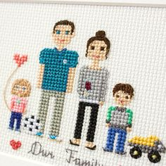2 Adults And 2 Kids. Custom Cross Stitch Family Portrait