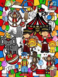 Circus Clipart Bundle from tongassteacher on TeachersNotebook.com -  (74 pages)  - HUGE Circus 74 piece clipart bundle features a ringmaster boy and girl, clown,seal, elephant, lion, bear, monkey, canon, balloons, cotton candy, peanuts, popcorn, ticket, circus tent, ring of fire