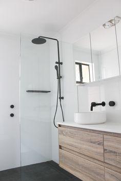 Black Tapware Walk In Shower White Bathroom + Black Tapware Wood Grain Vanity On the Ball Bathrooms Perth Bathrooms