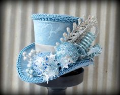 Sky Blue Damask Mini Christmas Mini Top Hat New Years by ChikiBird, $46.00