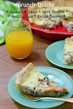 Smoked Salmon and Goat Cheese Quiche with capers and red onion! Great for brunch.