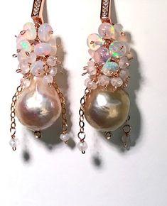 Baroque Pearl Opal Cluster Earrings in Rose Gold – #doolittlejewelry