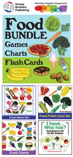 This bundle brings a treasure trove of food activities including Food Bingo, Tic-Tac-Toe, and I Have/Who Has Activites. Food Flash Cards and Food Charts give you tools for vocabulary activities and interactive notebooks!