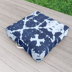 X Cloth Shibori Outdoor Floor Cushion by ninamay | Society6