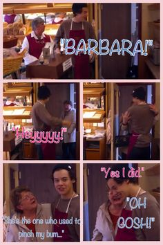 """""""BARBARA!"""" One Direction This is Us. Harry at the bakery. :)<<< admit it you said it like he did"""