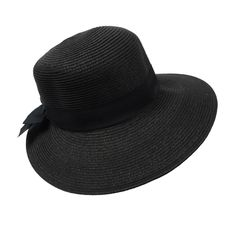 Asymmetrical Brim Summer Hat Black Ribbon cd424c19809d