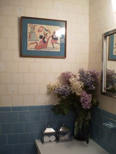The sea shell bathroom put back together. I thought the lilacs were the perfect touch. How fitting to have a Peter Hunt print on the wall. so clever am I. House Art, Lilacs, The Perfect Touch, Sea Shells, Clever, Bathroom, Wall, Home Decor, Bath Room