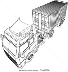 Container truck and trailer line drawing isolated on white background - stock vector #containertruck #linedrawing #illustration