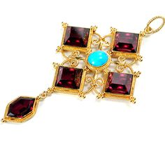 Resplendent Victorian Garnet & Turquoise Pendant. 18k gold mid to late 19th century [I think this could be Renaissance Revival since it is very similar to a pendant belong to Katharine of Aragon]