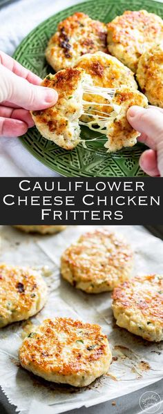 Everyone will love these Cauliflower Cheese Chicken Fritters. These are perfect for a mid-week family meal. Light, crispy, and packed with cauliflower, the whole family demolishes these fritters. From Sprinkles and Sprouts (easy healthy meals oven) Baby Food Recipes, Low Carb Recipes, Vegetarian Recipes, Cooking Recipes, Healthy Recipes, Health Food Recipes, Keto Recipes Dinner Easy, Easy Recipes, Healthy Foods