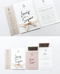 Een stijlvolle trouwkaart met stoere letters en een terugkerend icoontje van droogbloemen. Het toffe zijden lint past heel mooi om het ontwerp. Nu uitgevoerd in de kleuren beige, wit en roze, maar natuurlijk helemaal naar wens aan te passen. Bij de kaart kun je ook een bijpassend dagprogramma, save the date, menukaart of naamkaartjes bestellen.  #tritratrouwkaarten #trouwkaart #trouwkaarten #uitnodiging #bruiloftkaartjes #trouwuitnodiging #bride #trouwkaartopmaat #origineel  #leesign Spring Wedding Invitations, Wedding Invitation Wording, Invitation Suite, Wedding Programs, Wedding Cards, Our Wedding, Abstract Iphone Wallpaper, Wedding Designs, Wedding Details