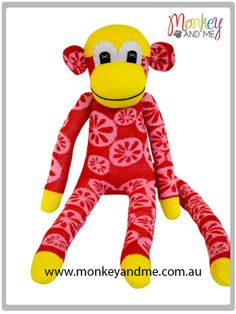 Yellow and Red citrus Sock Monkey  Adopt over at http://monkeyandme.com.au #sockmonkeys #gifts #toys