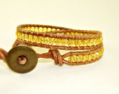 Sunshine Wrap Bracelet - <3 yellow topaz! Great color to layer up with. : )