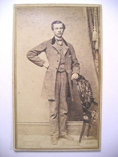 1860s CDV Rev Stamp Lanky Young Man in A Fine Suit w Frock Coat | eBay Unmarked, found with photos from South Hadley, Massachusetts