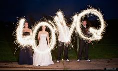 Wedding Party with Sparklers, Light Writing