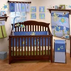 Sea Babies Turtle Octopus 4 Piece Baby Crib Bedding Set Blue Boys | eBay