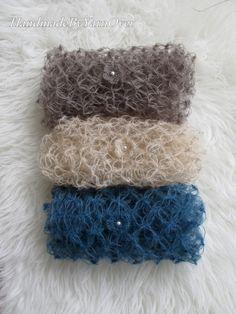 Newborn lacy crochet wrap blanket & flower  tie back set. Mohair silk yarn.Baby photo prop