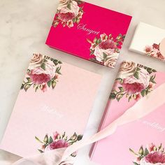This trio of pinks are on theyre way out this week I love when clients like to explore new options and love the hues of pink here! Muslim Wedding Invitations, Wedding Stationery, Indian Garden, Sikh Bride, Modern Asian, Acrylics, Summer Wedding, Invites, Gift Wrapping