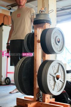 DIY Weight Plate Rack                                                                                                                                                                                 More