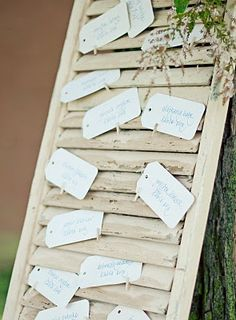 Shutter idea for seating at wedding or party.