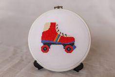 1980s Retro Roller Skate Cross Stitch Pattern. Childhood icons!