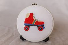1980s Retro Roller Skate Cross Stitch Pattern. Childhood icons!