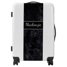 #trendy - #Black Monogram Charcoal Matte Faux Velvet Luggage