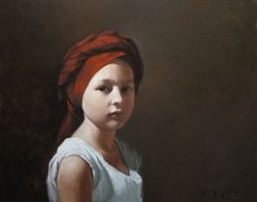 David Gray: Red Turban, 16x20, oil on canvas
