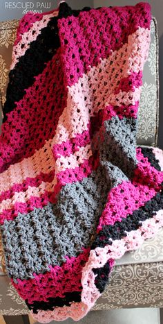 Simple Crochet Pattern Striped Blanket fall by RescuedPaw