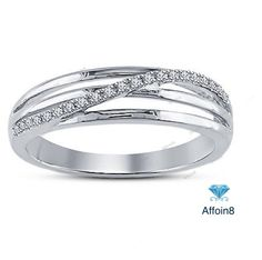 Platinum Plated 925 Silver Round Cut Simulated Diamond Ladies Wedding Band Ring #affordablebridaljewelry #WeddingBand