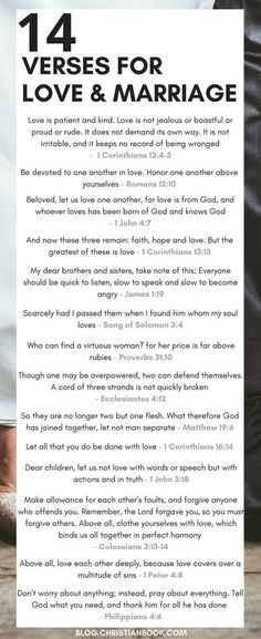 Wedding Quotes : Picture Description Whether you're recently engaged or soon to be celebrating a milestone wedding anniversary, here are some of the most valuable Bible verses about relationships, marriage and love. Relationship Verses, Bible Verses About Relationships, Marriage Bible Verses, Bible Verses About Love, Marriage Prayer, Godly Marriage, Marriage Tips, Love And Marriage, Couple Bible Verses