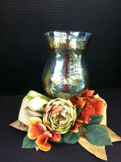 Rich gold candlelight custom floral by Andrea at Michaels in Laverne ca Candle Arrangements, Floral Arrangements, Floral Designs, Vase, Candles, Silk, Flowers, Home Decor, Decoration Home