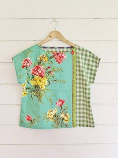 Upcycled Tea Towel Patchwork Women Top Shirt Linen by apieceofpie