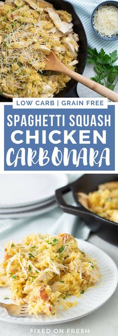 Spaghetti Squash Chicken Carbonara is a low carb spaghetti recipe that is also high in protein and super delicious. This grain free, low carb recipe is an awesome healthy chicken dinner for weeknights with the family!