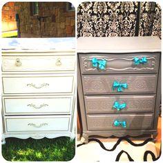 DIY dresser, love the bows!