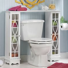 Seventh Avenue's bathroom storage cabinets help you define your bathroom style. You can afford bathroom space savers and furniture today with Seventh Avenue Credit. Space Saving Bathroom, Small Bathroom Storage, Storage Spaces, Small Bathrooms, Bathroom Organization, Organization Ideas, Bathroom Ideas, Over The Toilet Cabinet, Toilet Design