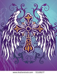Find Wings Hand Drawn Vector Illustration stock images in HD and millions of other royalty-free stock photos, illustrations and vectors in the Shutterstock collection. Celtic Cross Tattoos, Cross Tattoos For Women, Celtic Crosses, Angel Wings Drawing, Cross Wallpaper, Skull Wallpaper, Cross With Wings, Cross Coloring Page, Cross Pictures