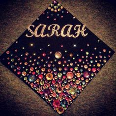 Luxury Rhinestone Graduation Cap. Make your graduation cap shining with these amazing sparkling rhinestones in various colors to give off a luxurious decor. http://hative.com/graduation-cap-ideas/
