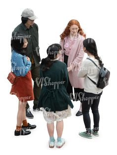 cut out group of five people standing and talking seen from above
