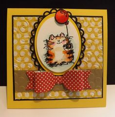 Birthday Cat: Supplies- Penny Black stamp set, Accessories: My Favorite Things bow and doily and oval die, embossing folders, heat embossing, SU reinkers, water pen